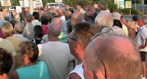 Crowds at an earlier Cyprus Property Action Group demonstration