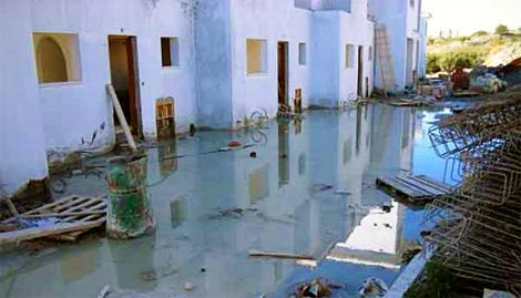 Flood damage to apartments in Paphos while still under construction