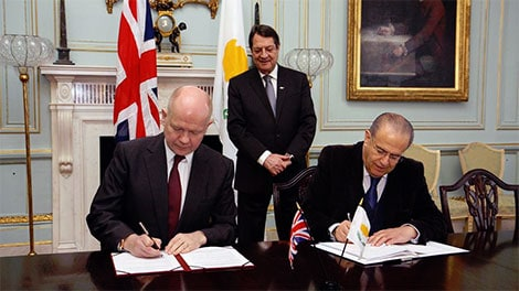 signing the Sovereign Base Areas agreement