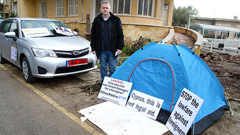 Conor O'Dwyer set up camp opposite Supreme Court